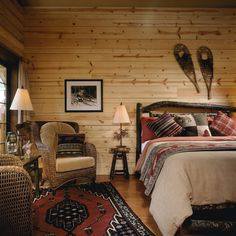 Cathedral Mountain Lodge. Love the interior of their private log cabins - great use of rustic decor & fabric.