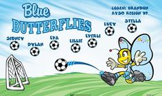 Blue Butterflies B54885_F  digitally printed vinyl soccer sports team banner. Made in the USA and shipped fast by BannersUSA.  You can easily create a similar banner using our Live Designer where you can manipulate ALL of the elements of ANY template.  You can change colors, add/change/remove text and graphics and resize the elements of your design, making it completely your own creation.