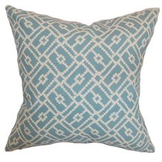 "Brayden Studio Ellefson Cotton Throw Pillow Color: Turquoise, Size: 20"" x 20"""
