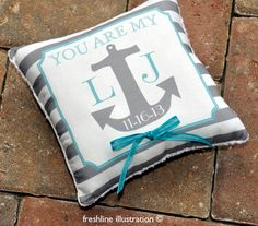 Ring Bearer Pillow  Anchor Pillow  You Are My Anchor by Freshline, $49.95