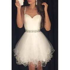 Sweet Spaghetti Strap Rhinestone Embellished Ball Gown Dress For Women (WHITE,M) in Vintage Dresses | DressLily.com