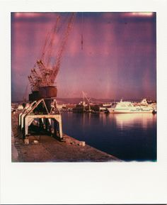 Portiques - Digue du Large #Marseille #GPMM #polaroid #DigueduLarge #ferry #portiques #Port #mer #violet / www.marseillepolaroid2013.com