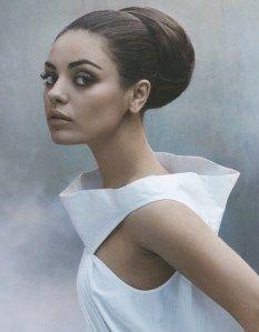 BEAUTIFUL!  MILA KUNIS ON THE COVER OF LA TIMES (EARLY FEB 2011). BALLERINA BUN MEETS AUDREY HEPBURN.