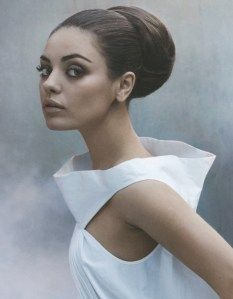 BEAUTIFUL!  MILA KUNIS ON THE COVER OF LA TIMES (EARLY FEB 2011). BALLERINA BUN MEETS AUDREY HEPBURN.