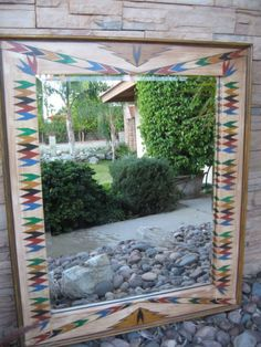One of a kind HANDPAINTED MIRROR FRAME