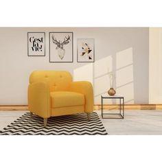 FINLANDEK Fauteuil fixe VIISTO en bois revêtement tissu jaune - Scandinave - L 88 x P 84 cm - Achat / Vente fauteuil FINLANDEK Fauteuil fixe VIISTO Structure en bois-Revêtement en tissu Uzes - Cdiscount