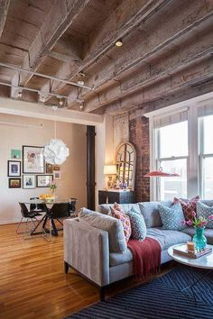 Old factory converted into a trendy loft apartment living room in downtown Houston by interior designer Kristina Wilson Loft Design, House Design, Design Design, Living Room Decor, Living Spaces, Living Rooms, Living Area, Bedroom Decor, Cosy Bedroom