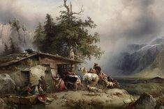 """Friedrich Gauermann: """"Heimkehr vor dem Gewitter"""" =  """"returning home before thunderstorm"""""""