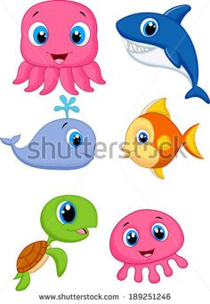 Cute Sea Creatures   Cute cartoon sea animals - stock vector