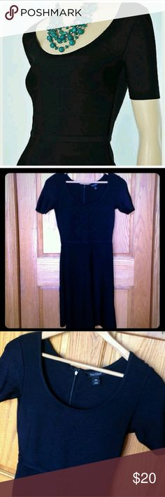 White House Black Market Skater Dress Gorgeous White House Black Market Skater Dress in a luxurious heavy banded black knit. Scoop neck featuring a full circle skirt and above elbow length sleeves. Perfect for a night out on the town. White House Black Market Dresses