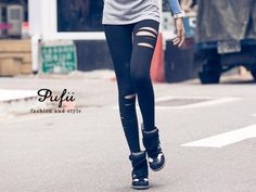 Distressed Leggings, Black , One Size - PUFII | YESSTYLE
