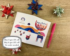 5. Scandi Stag Christmas Card. Printable. Easy to print. image 1