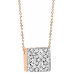 Ginette NY Diamond Ever Square 18-karat rose gold necklace WAGagBv