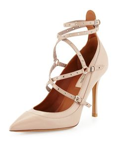 Studded Ankle-Wrap Pump, Powder by Valentino at Neiman Marcus.