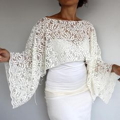 Ivory Lace Bridal Bolero Top, Cream Wedding Poncho Shrug, Cotton Wrap Shawl, Long Sleeves Evening Dress Cover Plus Size Cape Fashion Ivory Cream Wedding Wrap Bridal Shrug Cotton Lace Shawl Lace Bridal, Bridal Bolero, Wedding Lace, Wedding Dress, Bolero Top, Lace Shrug, Lace Shawls, Lace Top Dress, Lace Dress With Sleeves