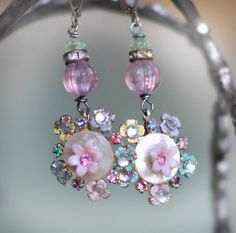 On Reserve assemblage earrings -PASTEL BLOOMS- flowers, rhinestones, pastel, vintage beads, pink, green, recycled, upcyled, crowned by grace