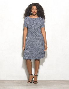 Plus Size Printed Flared Knit Dress