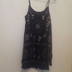 NWOT AE beaded shift dress Navy blue dress; solid slip under sheer overlay with beautiful beading. Pic doesn't do this dress justice.  Could be dressed up or down. American Eagle Outfitters Dresses