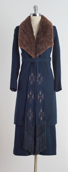 Roxette Blu . vintage 1920s coat . 2 pc set . by millstreetvintage