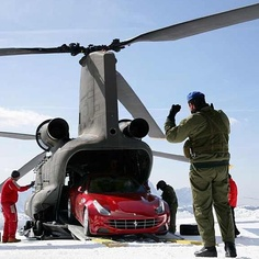 Red Ferrari FF after an intense helicopter ride!