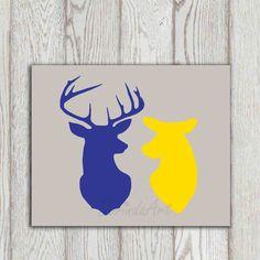 Deer printable decor Stag doe head print Navy blue yellow gray home decor Happy Deer couple Anniversary print Bedroom Wall art Gift idea