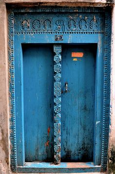 Blue door in Stone Town, Zanzibar, Tanzania.
