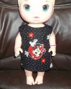 Baby 12 inch Alive doll handmade dress black with Minnie Mouse on it by sue18inchdollclothes on Etsy