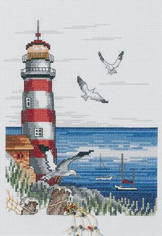 Lighthouse & Seagulls Cross Stitch Kit | sewandso