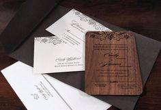 engraved wood wedding invitation set - vine