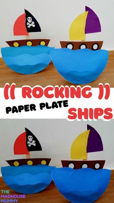 cute paper plate boat craft for kids. Watch as your ship rocks side to side as if over the waves. Fun ocean themed craft for preschoolers and upwards. Paper plate crafts for kids  #craftideasforkids #pirateshipcrafts #paperplatecrafts #childrenscraftideas #oceancrafts Summer Crafts For Toddlers, Easy Crafts For Kids, Craft Activities For Kids, Toddler Crafts, Preschool Crafts, Craft Ideas, Activity Ideas, Preschool Learning, Learning Activities