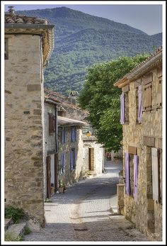 Typical cobbled street of an old Provençal village. Love the cobbled street!