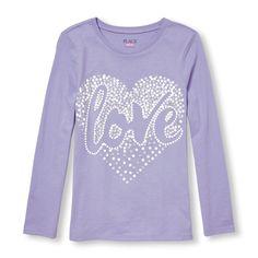 Girls Long Sleeve Glitter 'Love' Heart Graphic Tee