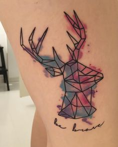 Spread some colors in your world, and remember to be brave. Origami geometric deer watercolor tattoo