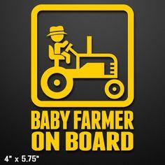 Baby Farmer On Board Custom Vinyl by LeftCoastGraphics on Etsy, $5.50