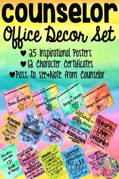School Counselor Classroom Office Decor Set by Heart and Mind Teaching School Counselor Office, Psychologist Office, Elementary School Counseling, School Office, Counseling Office, School Daze, Social Work Offices, School Social Work, Book Bin Labels