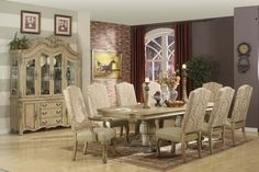 Furniture U0026 Design :: Dining Room Furniture :: Dining Table Sets :: White  Wash Finish :: 7 Pc Penelope Collection Antique White Finish Wood Double  Pedestal ... Good Ideas