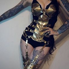 my new corset\harness more coming soon #agnieszkaosipa #corset #harness #golden #ornaments #embroidery #jewellery #beads #pearls #sexy #tattoo #costume #stripes #hips #flowers #dancer#skeleton #lingerie