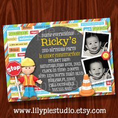 Construction Themed Party Invitation Printable by LilyPieStudio. $12.00 USD, via Etsy.