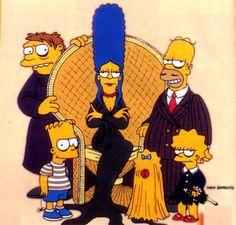 the simpsons, television, cartoon, the addams family, parody, comics, comic books