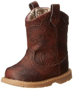 Natural Steps Gloss Western Style Boot (Infant/Toddler/Little Kid),Chocolate Embossed,6 M US Toddler