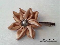 How to Make a Simple Kanzashi Satin Ribbon Flower + Tutorial . - YouTube