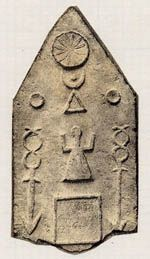 Tanit on a stele with wands and celestial symbols