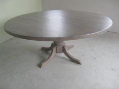 "84"" round reclaimed wood table with pedestal"