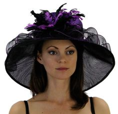 Silken Swirl Organza Hat with Curled Feather and Ribbon Accents i