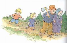 Dagmar Stam - Sprookje 'Hans en Grietje' Grimm, Illustrator, School, Kids, Pictures, Fictional Characters, Art, Languages, Young Children