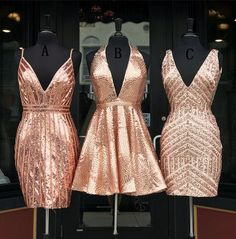 Curvy Spaghetti Strap Roes Gold Sequins Homecoming Dress,Party Dress - Party Dresses and Party Outfits Hoco Dresses, Club Dresses, Pretty Dresses, Sexy Dresses, Beautiful Dresses, Evening Dresses, Formal Dresses, Bodycon Homecoming Dresses, Vestido Rose Gold