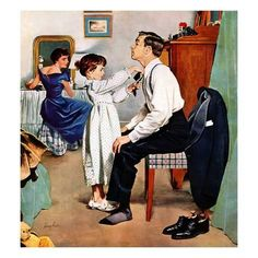 "Giclee Print: ""Fixing Father's Tie"", December 31, 1955 by George Hughes : 16x16in"