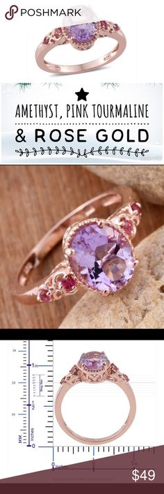 Amethyst & Pink Tourmaline Ring This is for a Rose de France Amethyst and pink Tourmaline Ring. The setting is 14K rose gold over solid .925 sterling silver. 2.48 total carat weight. Size 10. 100% genuine gemstones and metals! Jewelry Rings