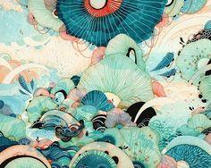 blue,dream,green,illustration,mushroom,prints-f82520e792d5a2ccc5d99ac4db6f1317_h_large.jpg (500×400)