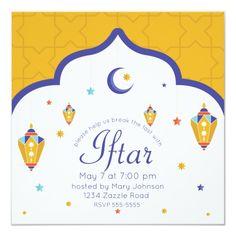 Shop Crescent Moon & Fanous Ramadan Invitation created by HolidayBug. Ramadan Gifts, Ramadan Mubarak, Zazzle Invitations, Invitation Cards, Arabic Pattern, Smudging, Paper Texture, Announcement, Moon